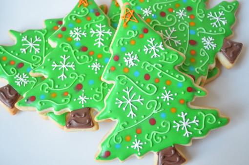 biscoitos de árvore de natal