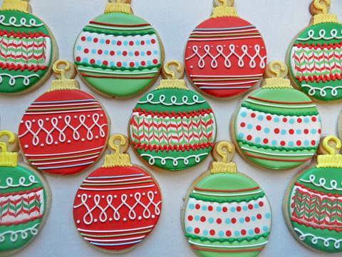 biscoitos decorados bolas de natal