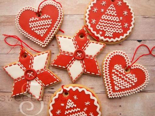 biscoitos decorados vermelhos