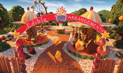cenários feitos com comida parque de frutas